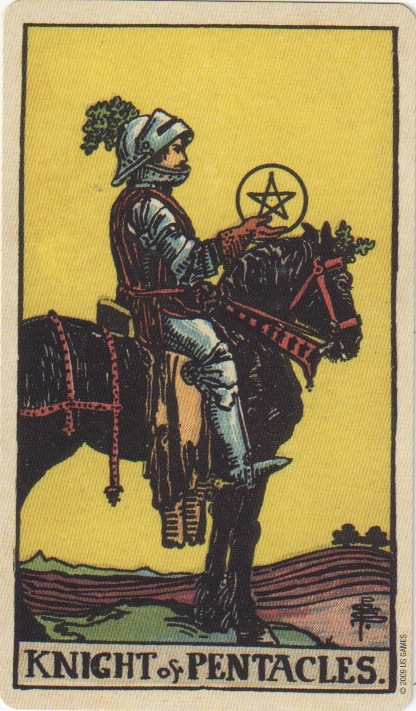 The Knight of Pentacles sits on his horse, facing to the right.  He holds a gold pentacle in his right hand, he wears a red glove and full armour.