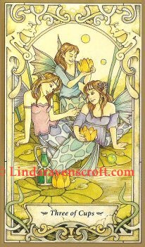 Tarot Thrones:  3 Cups from Mystic Faerie Tarot by Linda Ravenscroft