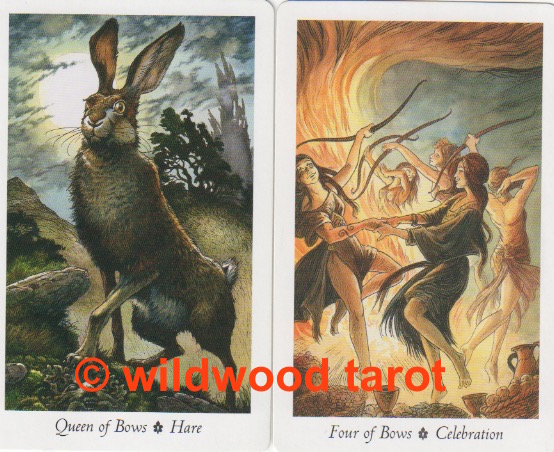 Wildwood Tarot | Queen of Bows | Four of Bows | Tarot Thrones