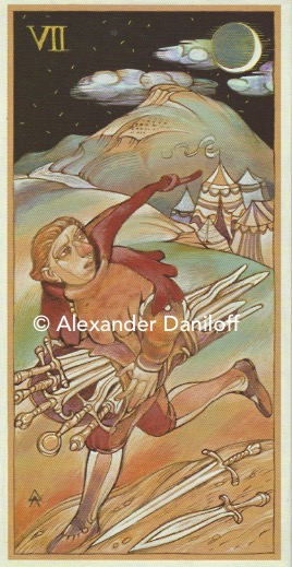 7 of Swords.  A young man runs away from an army encampment holding five swords with two swords falling at his feet.